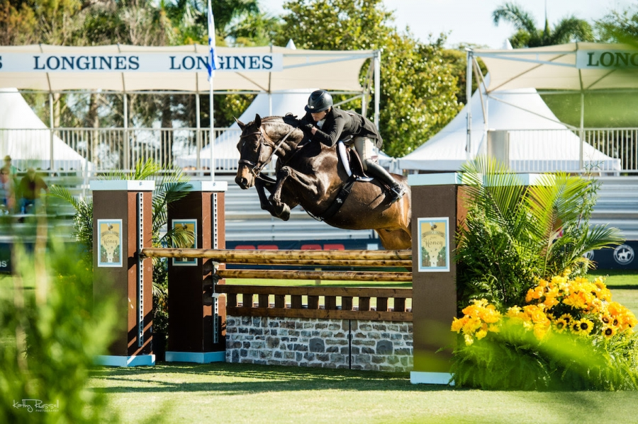 Victoria Colvin rode Meralex Farm's El Primero to the top of the Classic Round of the $50,000 USHJA International Hunter Derby.