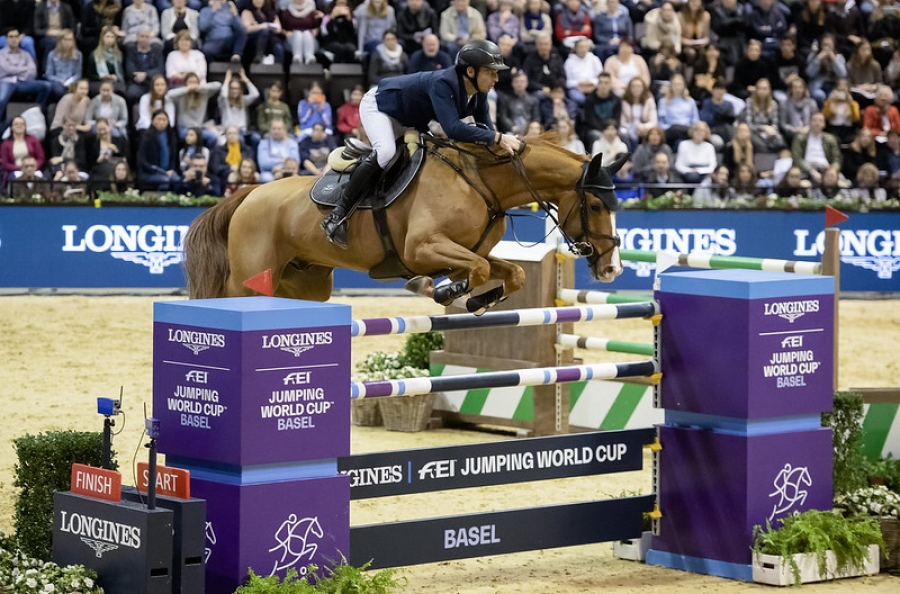Steve Guerdat (SUI) riding Victorio des Frotards winners of the Longines FEI Jumping World Cup™ 2020, Basel (SUI)