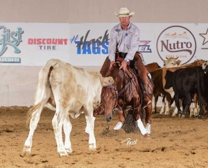 Corey Cushing and Hott Rod marked a 224.5 in the Derby Open herd work preliminaries for owner Lynne Wurzer.