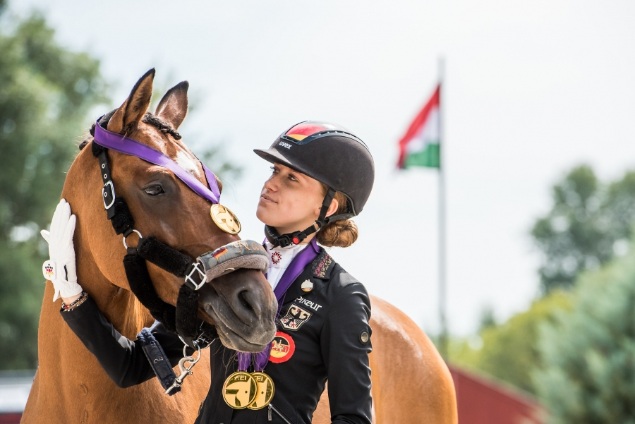 Gold medal winners Lucie-Anouk BAUMGÜRTEL (GER) riding ZINQ NASDAQ at the FEI Dressage European Championships 2020 - Ponies Freestyle - Pilisjàszfalu (HUN)