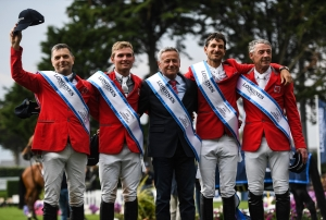 Longines FEI Jumping Nations Cup™ of France 2019 La Baule. Winning Swiss team: Niklaus Rutschi, Bryan Balsiger, Chef d'Equipe Andy Kistler, Steve Guerdat and Paul Estermann.