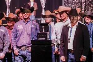 Oded Fein, MS Diamonds TX by Sleipnir (far right) presenting the NRHA Open Futurity Champion's Ring