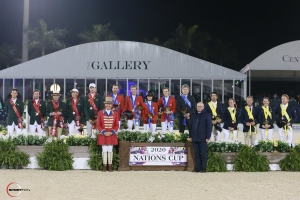 The top three teams, including second-place Ireland, winners from the United States, and third-place Australia with with Equestrian Sport Productions President Michael Stone and ringmaster Steve Rector.