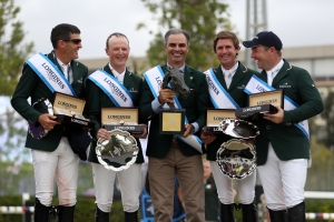 Team Ireland (IRL) during the medal ceremony for the Longines FEI Jumping Nations Cup™ Final – Final Competition, Barcelona (ESP). From left to right Paul O'Shea, Peter Moloney, Team Manager Rodrigo Pessoa, Darragh Kenny and Cian O'Connor (IRL). Team Ireland finished in first place.