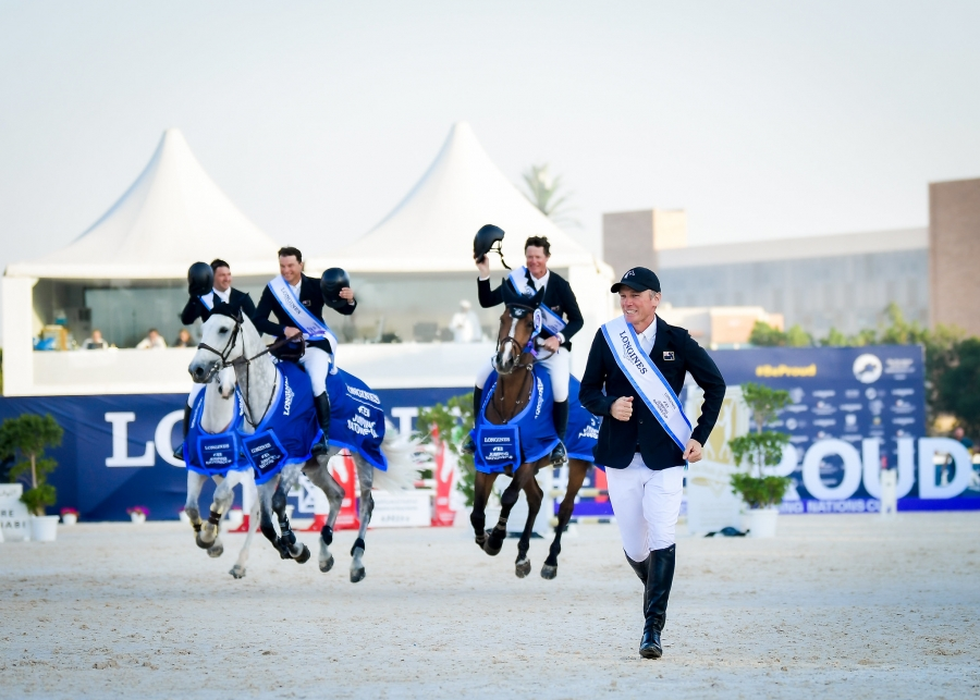 Team New Zealand - Tom Tarver-Priebe riding Popeye, Bruce Goodin riding Backatorps Danny V, Daniel Meech riding Cinca and Richard Garnder - winners of the Longines FEI Jumping Nations Cup™ 2020, Abu Dhabi (UAE)