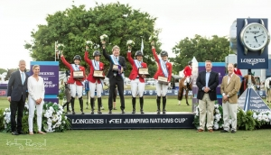 Team USA wins the $230,000 CSIO5* Longines FEI Jumping Nations Cup™ USA at the Palm Beach Masters Series®. From left to right: Lou Jacobs, Palm Beach Masters Series® Co-Founder, Joan Jacobs, representing the Palm Beach Masters Series®; Margie Engle, Laura Kraut, Chef d'Equipe Robert Ridland, Beezie Madden, and Jessica Springsteen; Mr. Mike Mikula, Longines Representative; and Mr. Mark Samuel, FEI First Vice-President.