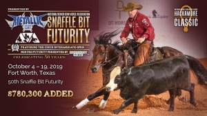 Debbie Crafton and Dualin Alittle Time are champions of the NRCHA Non Pro Futurity ®, presented by Discount Tire